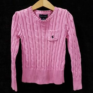 6X Girls Ralph Lauren Polo Pink Cable Sweater